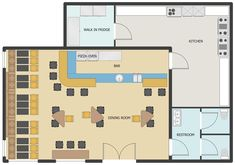 This sample shows a of premises in a as well as the location of the and inside them. Cafe Floor Plan, Restaurant Floor Plan, Deco Restaurant, Floor Plan Layout, Restaurant Design, Floor Plans, Restaurant Ideas, Small Bakery, Small House Plans