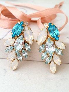 Blue earring | Ice blue aquamarine earring,stud earring |Cluster earring,Bright aquamarine |chandelier earring | bridal earring |bridesmaid earring by EldorTinaJewelry | http://etsy.me/2c4bNvw