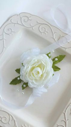 Ivory Wrist Corsage Wedding Corsage by SterlingCottageShop on Etsy