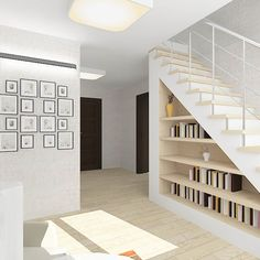 Beautiful, minimal, clean, white style staircase with bookshelf underneath. By: Design Rules Staircase Storage, Stair Storage, Staircase Design, Book Staircase, Floating Staircase, Small Space Interior Design, Interior Design Living Room, Under Stairs Storage Solutions, Home Engineering
