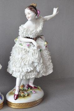 Two Stunning Porcelain Lace Dancer Figurine Volkstedt Germany Dresden | eBay