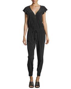 Short-Sleeve Crepe Jumpsuit, Black
