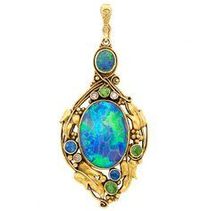 Art Nouveau Gold, Black Opal, Sapphire, Demantoid Garnet and Diamond Pendant Opal Jewelry, Jewelry Art, Antique Jewelry, Gold Jewelry, Vintage Jewelry, Fine Jewelry, Jewelry Design, Antique Art, Vintage Art