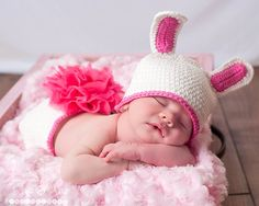 Baby Girl Crochet Bunny Hat and Diaper Cover - Crochet Bunny Hat - Photo Prop - Shower Gift. $20.00, via Etsy.