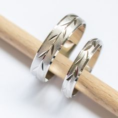 Wedding band set his and hers wedding rings white gold 5mm & 3mm wide unique