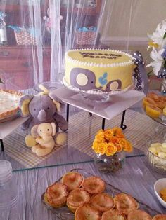 Baby shower for men and hens, yellow and grey sweets table and picnic