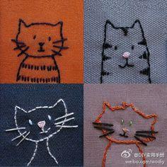 这样的小猫绣在衣服的一角也不错啊~…_来自黑眼圈长睫毛的图片分享-堆糖网