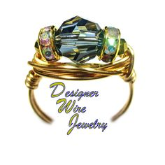 DWJ0601 Stunning Denim Blue Swarovski Crystal Gold Wire Wrapped Ring All Sizes