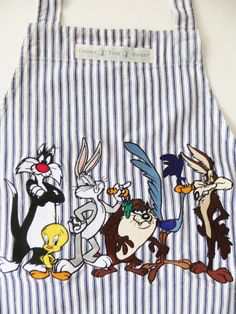 Vintage Looney Tunes Apron, Full Embroidered Apron, Sylvester Tweetie Pie, Bugs Bunny Taz, and More Cartoons, 90s era Comic Cartoon Apron by CatBazaar on Etsy