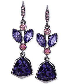 Givenchy Light Hematite-Tone Purple Multi Crystal Medium Drop Earrings