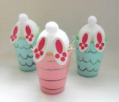 Osterdeko selber basteln - Witzige Osterhasen Figuren im Glas