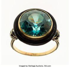 Estate Jewelry:Rings, Blue Zircon, Enamel, Gold Ring. ...