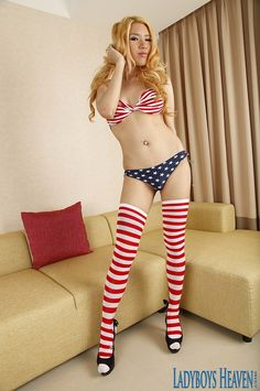 "Lovely blonde ladyboy ""Lisa"" in her bikini and knee striped socks. #ladyboy #shemale #transsexuals #tgirl"