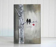 5th Anniversary Gift for Him Custom Wedding Gift Decor Rustic Pallet Art Affordable Original Paintings Love Bird Painting Aspen tree Painting