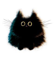 Un chnoupouille noir à gros yeux.