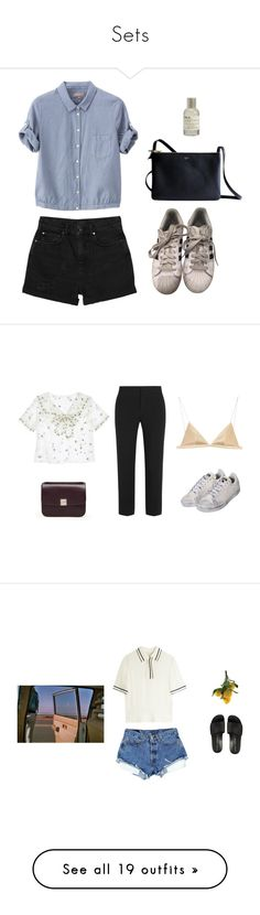 """""""Sets"""" by iris-mlndz ❤ liked on Polyvore featuring adidas, Monki, Margaret Howell, CÉLINE, Le Labo, Sretsis, T By Alexander Wang, Chloé, Golden Goose and Opening Ceremony"""