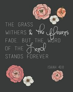 """""""The grass withers and the flowers fade but the word of the Lord stands forever."""" -"""