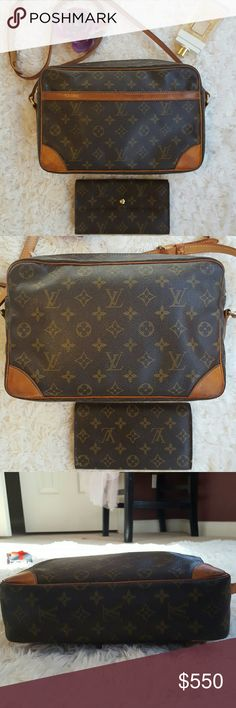100% Authentic Louis Vuitton Trocadero 30 w/wallet A versatile yet luxurious LV staple, this Trocadero is the perfect size for your tablet and other daily essentials. With an adjustable crossbody strap, this bag is great for travel or toting around town. The main interior compartment is clean and rip-free. Please note, however, the exterior slip pocket and interior zip pocket have some small peeling and are sticky, leaving a black residue. Beautiful vintage piece for any LV Collector. Wallet…
