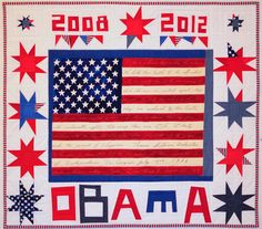 In the last few days of President Obama's time in office I want to honor him and his whole family with this quilt that I finished after his second inauguration.  This presidency has been full of intelligence grace and honor.  I will really miss him.  #presidentobama #liberatedschoolofdesign #liberatedquilt #improvquilt #politicalquilt
