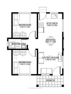 Small House Floor Plans with Porches - 2018 House Plans and Home Design Ideas Small House Floor Plans, Home Design Floor Plans, House Plans One Story, Plan Design, Design Ideas, Layout Design, The Plan, Plan Duplex, 2 Bedroom House Plans