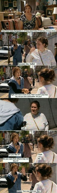 Miranda Hart's brilliant take on What Not To Wear, et al., I laughed out loud when I saw this on her show. Miranda Tv Show, Miranda Bbc, Miranda Hart Quotes, Call The Midwife, British Comedy, British Humour, I Love To Laugh, Look At You, Feminism