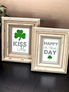 """Simply print out the 4"""" x 6"""" and 5"""" x 7"""" designs and frame. The modern graphics also look great as the front of a greeting card or party invitation. Go to TomKat Studio for the free prints and get more ideas for homemade St. Patrick's Day decorating."""