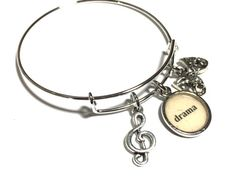 Music Theater G Clef Adjustable Bangle Bracelet by HeidiKindFinds