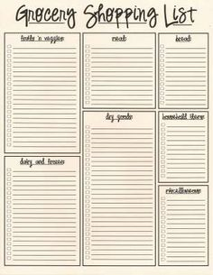 free downloadable grocery list