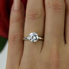 2 ct 14k White Gold Ring 6 Prong Classic by TigerGemstones on Etsy