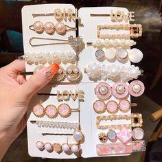 2020 New Women Girls Pearl Crystal Hairpins Side Clip Hair Jewelry Trendy Geometric Headwear Fashion Hair Accessories Barrettes Stylish Jewelry, Cute Jewelry, Hair Jewelry, Fashion Jewelry, Fashion Hair, Fashion Beauty, Kawaii Hairstyles, Diy Hairstyles, Magical Jewelry