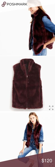 "J.Crew faux fur vest Body length: 24 1/2"". Hits at hip. runs slightly large Cool fall days call for a cute faux-fur vest.  Acrylic/poly. Dry clean. Color is vivid burgundy  no trades J. Crew Jackets & Coats Vests"