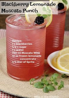 Blackberry Lemonade Moscato Punch is a great alcoholic party punch perfect for celebrations & gatherings with friends. Party Drinks, Cocktail Drinks, Fun Drinks, Cocktail Recipes, Alcoholic Drinks, Cocktails, Mixed Drinks, Alcohol Drink Recipes, Punch Recipes