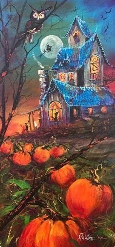 original halloween painting folk art fall witch pumpkin decor spooky modern art - by lafleurart Fete Halloween, Holidays Halloween, Spooky Halloween, Vintage Halloween, Halloween Crafts, Happy Halloween, Trendy Halloween, Halloween Stuff, Halloween Costumes
