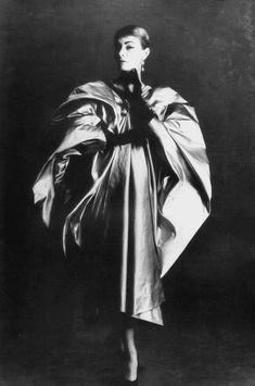 Model wearing a satin cape by Cristobal Balenciaga, Paris, 1953