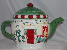Christmas TEAPOT tea pot HALLMARK flowers signed Karla Taylor HOLIDAY