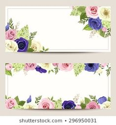 Vector invitation cards with pink, blue and white roses, lisianthuses and anemone flowers. Banners Web, Floral Banners, Blue And White Roses, Green Rose, Anemone Flower, Lilac Flowers, Printable Wedding Invitations, Invitation Cards, Colorful Roses
