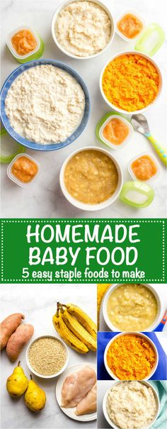 Homemade baby food -- sweet potatoes, brown rice, chicken, pears and banana are great staples to introduce for young babies and to use for combinations for older babies and toddlers! Sweet Potatoes For Baby, Sweet Potato Baby Food, Chicken Baby Food, Sweet Potato Dinner, Banana Baby Food, Food Baby, Baby Snacks, Baby Puree Recipes, Baby Food Recipes