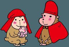 2016 干支 申 赤い頭巾をかぶった猿の夫婦 年賀状とイラスト | ゴゴンのイラスト素材KAN