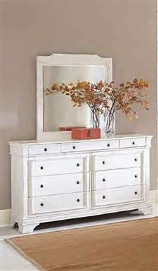 Derby Run Traditional White Wood Glass Dresser