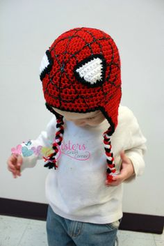 Spiderman Crochet Hat Earflap Beanie - Newborn, B Crochet Hat Earflap, Earflap Beanie, Bonnet Crochet, Crochet Kids Hats, Crochet Amigurumi, Crochet For Boys, Cute Crochet, Crochet Crafts, Yarn Crafts