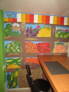 Mural realizado en Rushi, un restaurante vegetariano que ofrece productos saludables. Hicimos un homenaje a las propiedades que nos brinda la tierra, alimenticias (frutas y verduras) y espirituales (plantas sagradas).