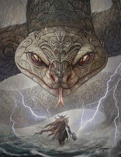 Thor and the midgard snake #norsemythology#thor#Odin
