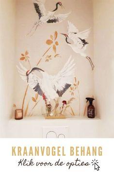 Soms is het de kunst van het weglaten dat een ruimte maakt of breekt. Interieurontwerpster Luka Jacobs verstaat deze kunst als geen ander en verzorgde deze toilet make-over. Hierbij gebruikte ze haar eigen kraan vogel behang. Het resultaat is een chique, modern, maar vooral rustig toilet, waar iedereen even helemaal tot rust kan komen ;-) Bekijk het behang in de webshop en laat je inspireren door de interieur ideeën.  Home Office, Toilet, Wall Decor, Interior Design, Furniture, Houses, Studio, Bathroom, Home Decor