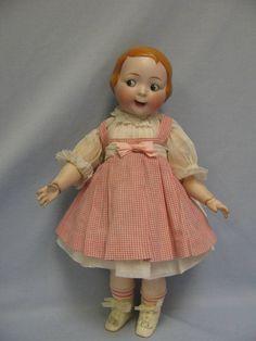"""16"""" Early Hertel Schwab #163 -6. Made for Strobel & Wilkin Co. GOOGLY Rare MOLDED HAIR Slant-Hip Toddler. $8950.00"""