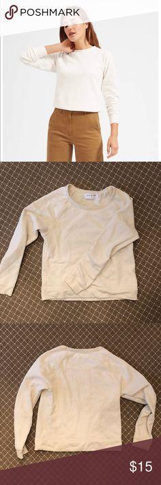 Everlane slim French terry crew in bone Light sweatshirt in size small Good  condition edd586a736b