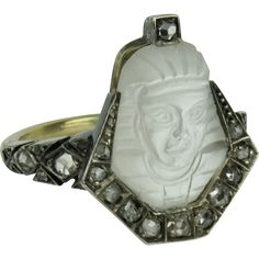 Egyptian Revival Moonstone Cameo and Rose Cut Diamond Pharaoh Ring