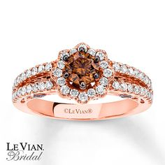 Chocolate Diamonds® 1 1/8 ct tw Ring  14K Strawberry Gold®  ADORE this Ring! @LeVian Bridal