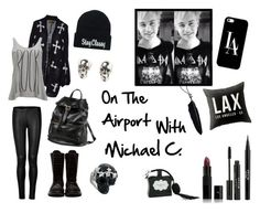 """On The Airport With Michael Clifford"" by sarkata-boo-bear ❤ liked on Polyvore featuring Ann Demeulemeester, Wildfox, Vero Moda, Donna Karan, Rick Owens, Corsia, Victoria's Secret, Stila, Vincent Longo and LeiVanKash"
