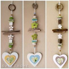 Garland Hearts Spring Hanger * Driftwood * various colors selectable * Flowers - Kids' Crafts for Diy and Crafts Diy Home Crafts, Clay Crafts, Crafts For Kids, Arts And Crafts, Shell Wind Chimes, Wood Gifts, Driftwood Art, Camping Crafts, Mobiles