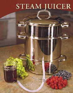 Extract the natural juices of grapes, berries, and other soft fruits with the power of steam. Simply boil in the bottom pan and place fruit in the top container to make natural, delicious fruit juice. Over 650 kitchen tools to choose from. Healthy Juice Recipes, Healthy Juices, Healthy Smoothies, Canning Vegetables, Steamed Vegetables, Crabapple Jelly Recipe, Steam Juicer, Crab Apple Jelly, Red Juice Recipe
